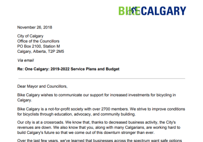 Bike Calgary's letter to the City re: 2019-2022 Budget