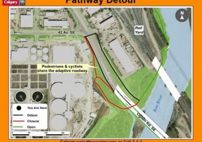Detour alert – Ogden Road SE / Bow River Pathway